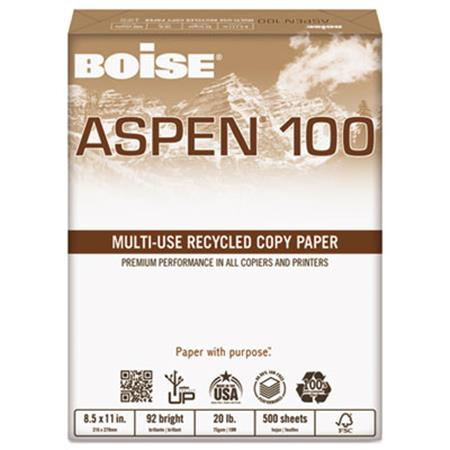 ASPEN 100 Office Paper  92 Brightness  20lb  8-1/2 x 11  White  5000 Sheets/Ctn