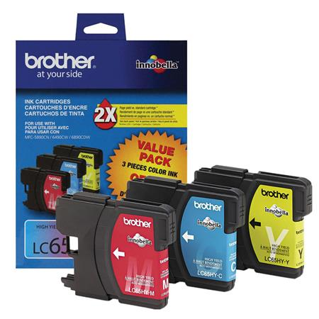 Brother LC65 Original Color Cartridge Triple Pack( Cyan  Magenta  Yellow)