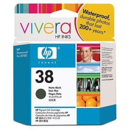 HP 38 Matte Black Pigment Original Inkjet Print Cartridge with Vivera Ink (C9412A)