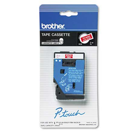 Brother TC54Z1 Original P-Touch Label Tape - 3/8 x 25.2 ft (9mm x 7.7m) White on Red