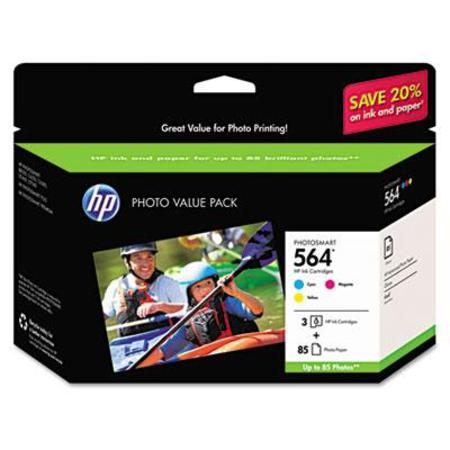 HP 564 (CG925AN) Original Triple Pack Cartridge with 85 6 x8 Photo Paper Sheets