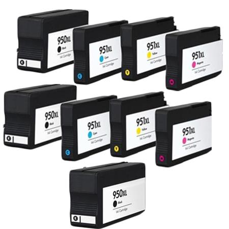 950XL/951XL Full set + 1 EXTRA Black Remanufactured Inks