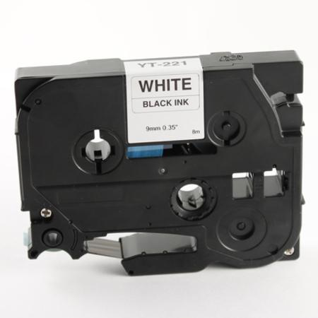 Brother TZe-221 Compatible P-Touch Label Tape - 3/8 in x 26 ft (9mm x 8m) Black on White