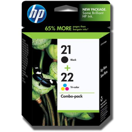 HP 21-22 Black and Tri-Color Original Combo-pack Ink Cartridges