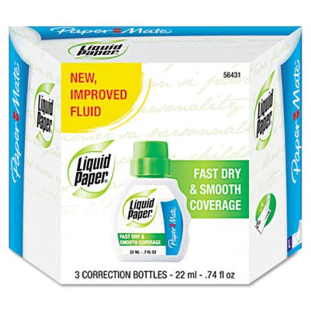 Liquid Paper Fast Dry Classic Correction Fluid 22ml Bottle White 3 per Pack