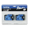 Brother TC10 Original P-Touch Label Tape -  1/2 x 25.2 ft (12mm x 7.7m) Black on Clear - 2 Pack