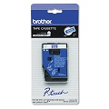 Brother TC64Z1 Original P-Touch Label Tape - 3/8 x 25.2 ft (9mm x 7.7m) White on Blue