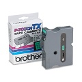 Brother TX7511 Original P-Touch Label Tape - 1 x 50 ft (24mm x 15m) Black on Green