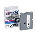 Brother TX1351 Original P-Touch Label Tape -  1/2 X 50 ft (12mm x 15m ) White on Clear